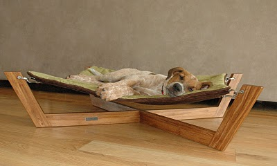 Relief from the exhausting life as a model comes by way of a Bambu Hammock from Pet Lounge Studios.