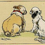 Realistic dog illustration by Wain showing a bulldog and Pekingese.