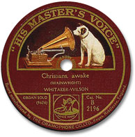 Early HMV record label showing Nipper.