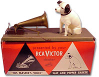 Pass the salt? RCA Victor 'His Master's Voice' salt and pepper shaker