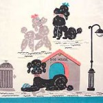 Woven cotton novelty dog tea towel depicting chic poodles.