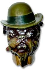 Vintage porcelain figural tobacco jar of a Bulldog with a cigar.