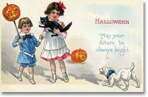 Halloween Children, J-O-L, Black Cat, White Dog