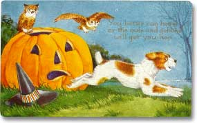 1918 Halloween postcard featuring a Jack-o'-lantern, owls, and a frightened dog. Whitney Co Publishers.