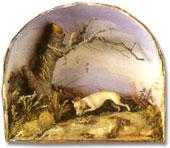 taxidermy fake dog diorama